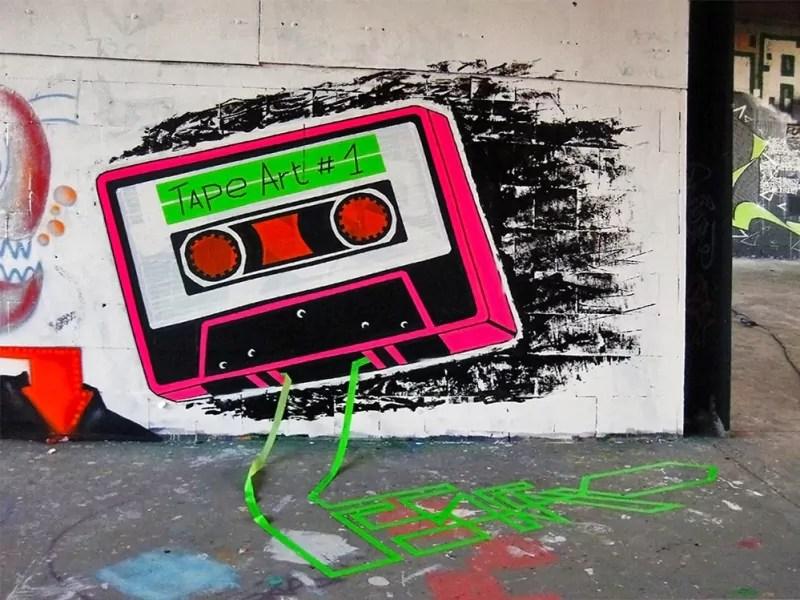 Kassette- Klebeband Spray Graffiti- Ostap- Street Art Festival-Abhörstation-Teufelsberg-2012