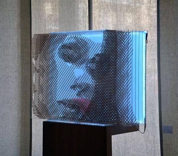 Seitenansicht 01- 3D Frauen Porträt- braunes Packband- Ostap 2015