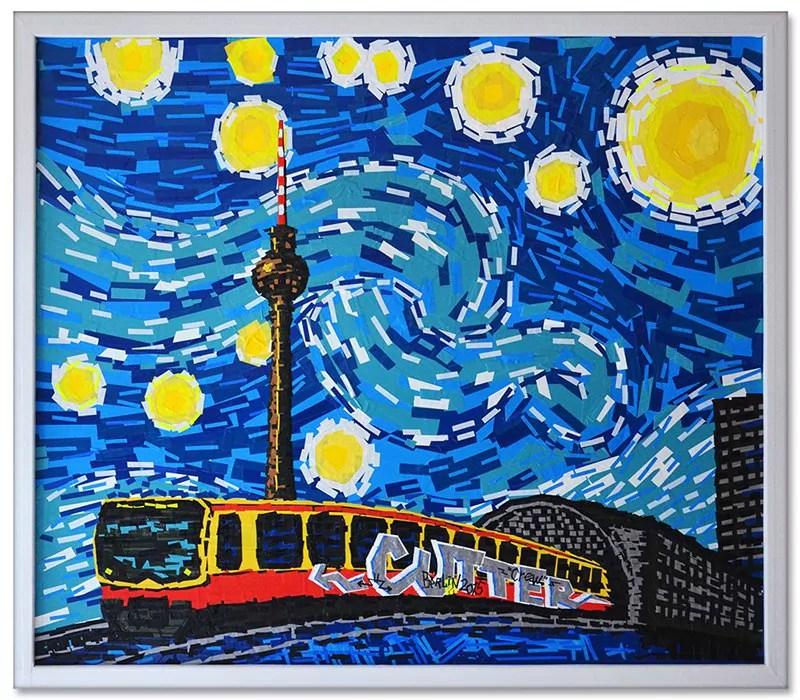 Tape Art Kunstwerk- Berliner Sternennacht- Ostap-Van Gogh-2014
