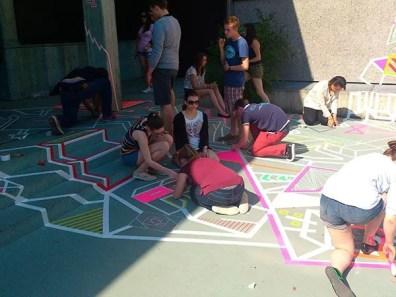 Tape street art workshop in school