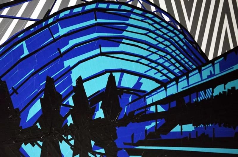 Nahaufnahme von dem Klebeband-Kunstwerk für Leipziger Messe