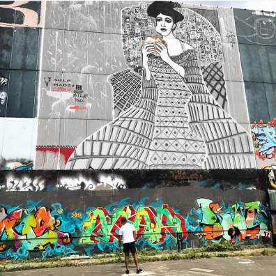 Lady in Cement, Mixed media Mural at Teufelsberg, 2015