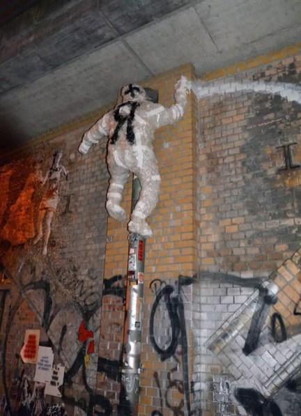 The Climber- tape street art sculpture by Selfmadecrew- 2016