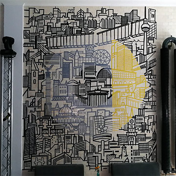 Tape wall art by Selfmadecrew-Event Location Design for Smart and Mercedes