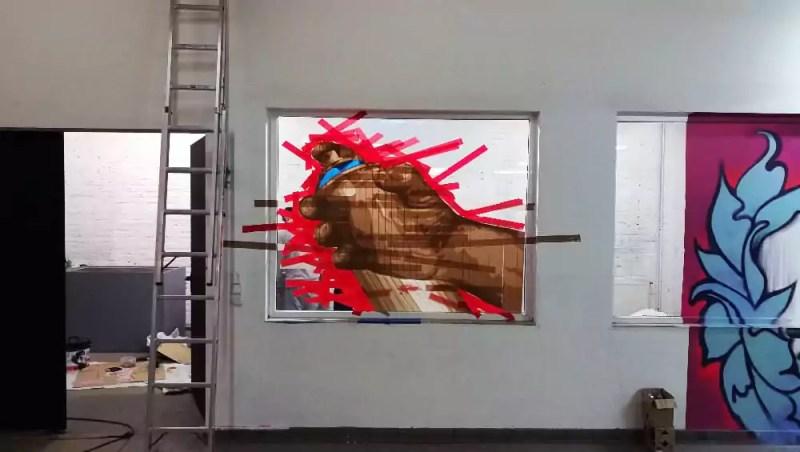 Wandelism Tape Art- Emergence of tape spray Can installation by Slava Ostap