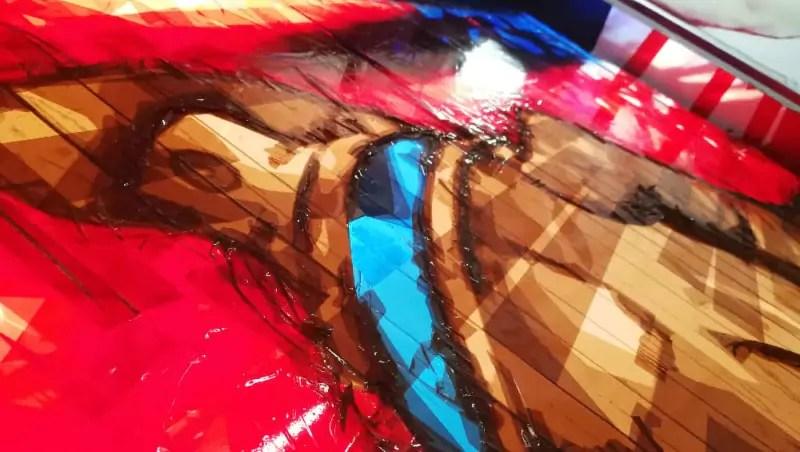 Die Oberfläche von Paketklebeband Kunstwerk-Wandelism- Nahaufnahme