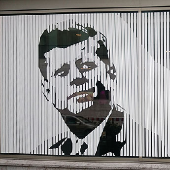 JFK portrait made with white duct tape- Berlin 2015- thumbnail