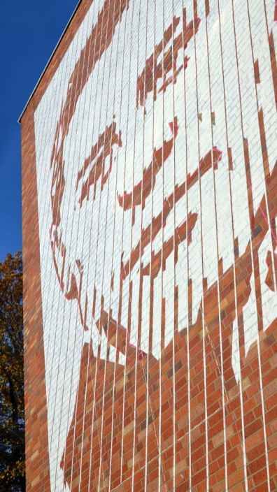 Portrait of Helmuth Hübener- mural art by Selfmadecrew- close up