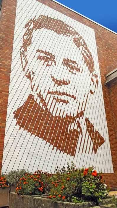 Helmuth Huebener portrait- Close up of the mural artwork by Selfmadecrew