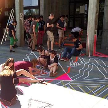 Tape Art Workshop in einer Realschule in Göttingen
