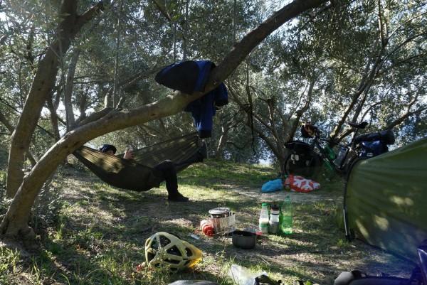 Taneli road tests my hammock for me, near Orebice, Croatia