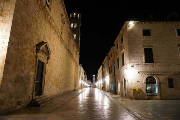 Dubrovnik's Placa Stradun, unusually free of tourists (at midnight).