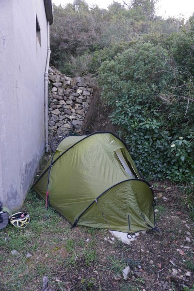 Worst campsite of the trip - first night in Italy, wedged beside a water pumping station under a military radar