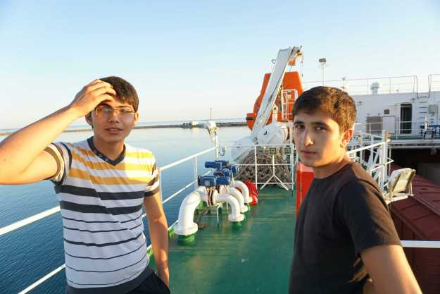 Waiting to disembark with two Azerbaijani apprentice crew of Balakan.