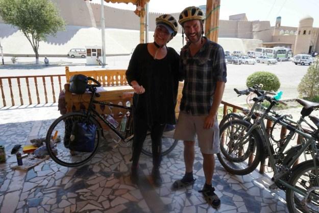 With matching helmet buddy Alex, at Alibek B&B, Khiva
