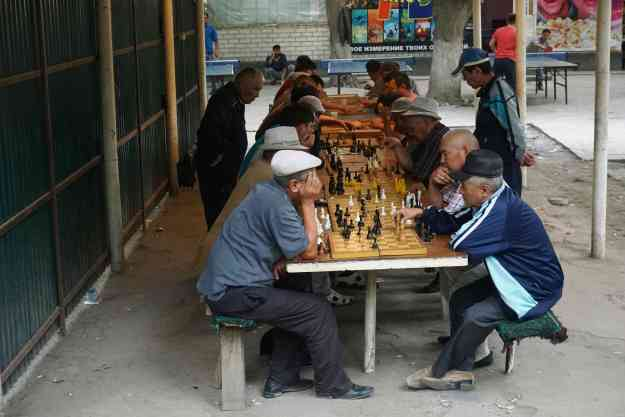 Chess tourney in the park, Osh