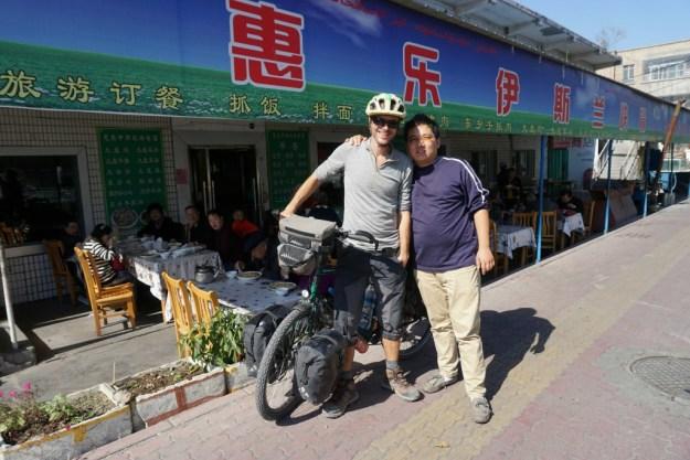With proud restrateur in Jinghe, Xinjiang