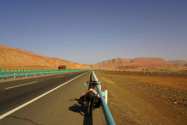 Passing Flame Mountain after Turfan, Xinjiang