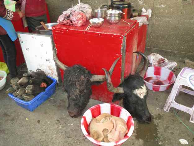 Two heads are better than none. In Litang market.
