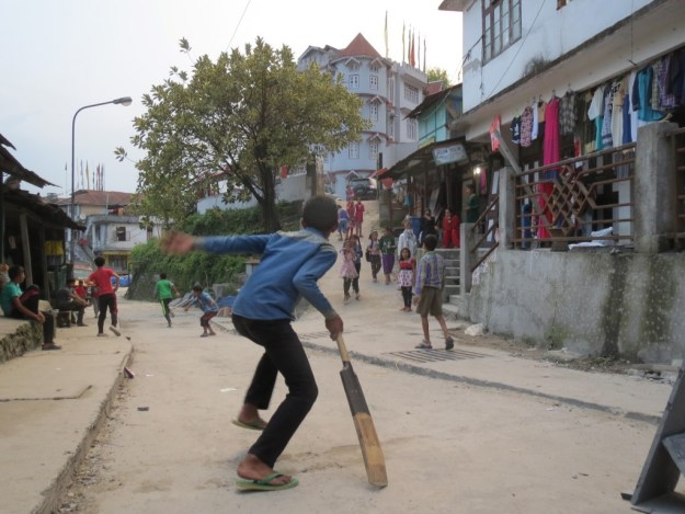 Street cricket is played by kids everywhere in India. This is in Mangan, Sikkim.