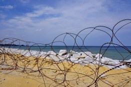 All along the coast of Gangwon-do, alluring beaches are controlled by military police and razor-wire.
