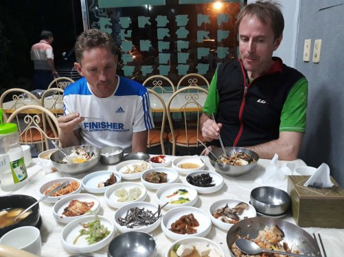 Banquet at the end of the 45km, 4000m+ ascent & descent of Jirisan ridge. Photo: H.Chong