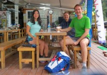 Last coffee before the Jirisan run with Hyon Shim and Piet.