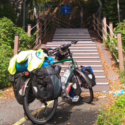 Korean cycle paths - not designed with the loaded tourer in mind!
