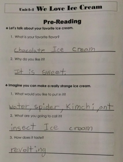 This is David's recipe for ice cream.