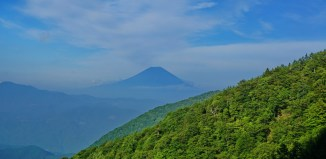 Distant view of Fujisan from the descent of Abe Pass