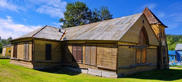 Wonky wooden church in Dawson City