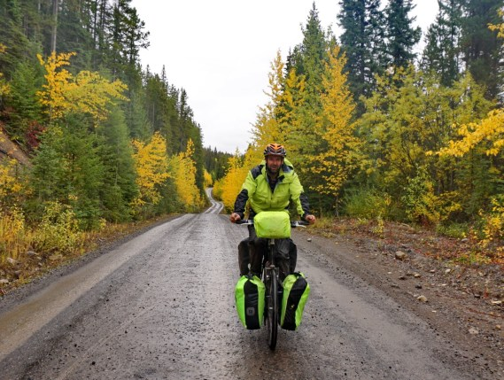 Steve tries to blend in on a wet day on Elk Valley Road.
