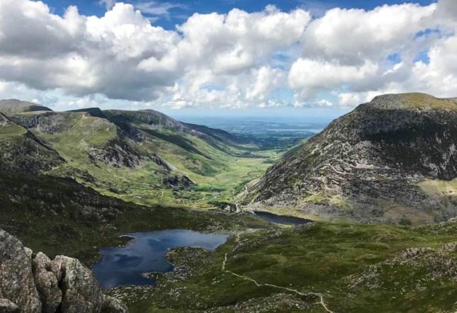 Llyn Idwal and Ogwen Valley from Tryfan. Photo: N.Corbett