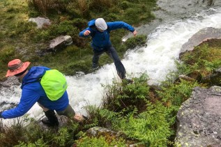 Stream jumping antics in the Carneddau hills. Photo: N.Corbett