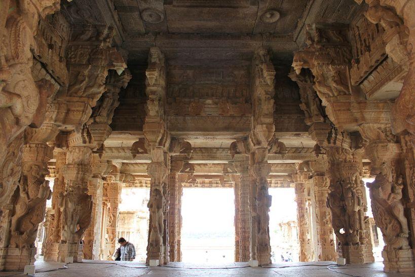 An open mantapa with yali columns at the Vittala temple in Hampi