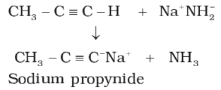 Acidic character of alkyne