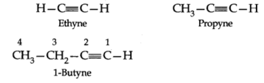 Nomenclature of alkynes