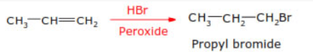 Peroxide effect or Kharasch (Anti Markownikoff's addition):