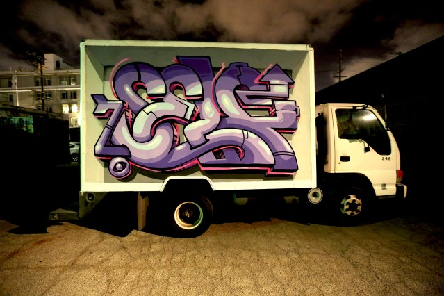 self graffiti selfuno container yard truck night graffiti burner letters