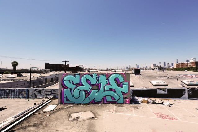 self selfuno graffiti burner letters rooftop piece dtla april 2014 downtown los angeles