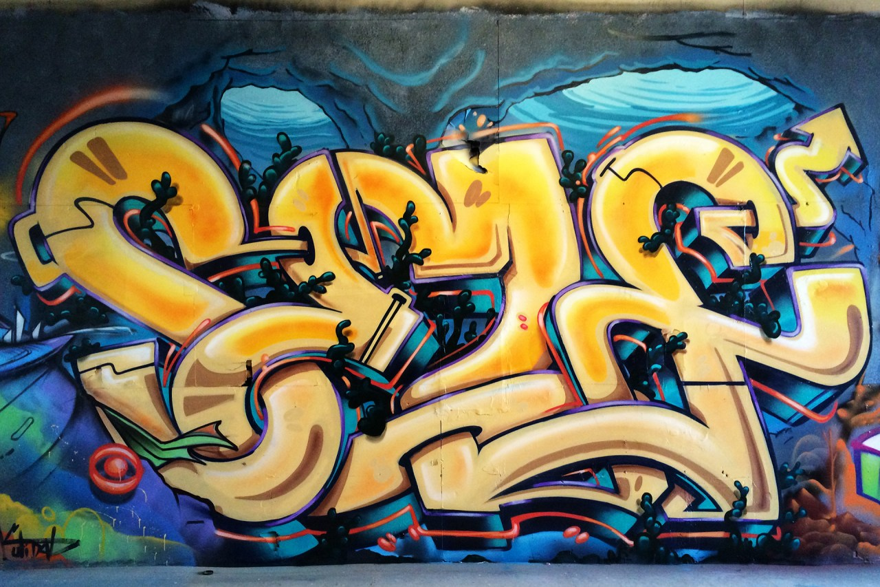 self selfuno graffiti downtown dtla east los angeles burner letters piece april 2014
