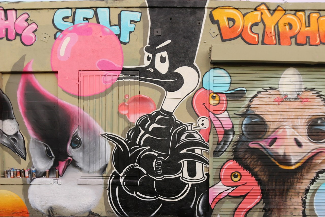 self selfuno graffiti dtla downtown los angeles character bubble goose flamingo august 2014