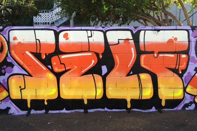 self selfuno graffiti east hollywood los angeles halloween candy corn letters piece january 2015