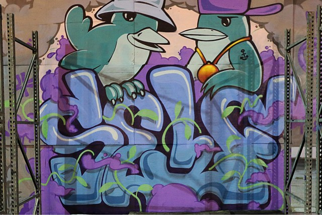 self selfuno graffiti letters character bird wall mural art santa ana blue lot april 2014