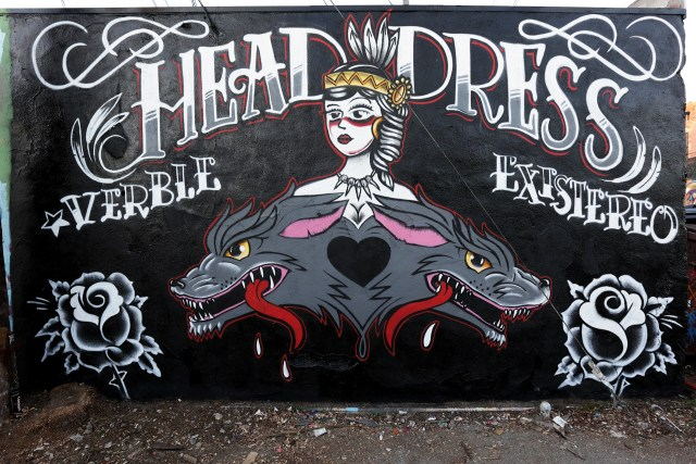 self selfuno graffiti mural head dress melrose alley powerplant motorcycles hollywood wall piece los angeles january 2013