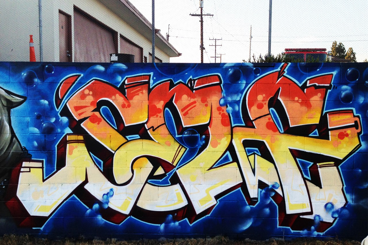 self selfuno graffiti piece letters art mural wall art crenshaw inglewood july 2013