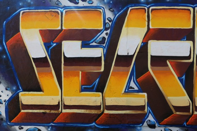 self selfuno graffiti silverlake letters piece gold sunset june 2014