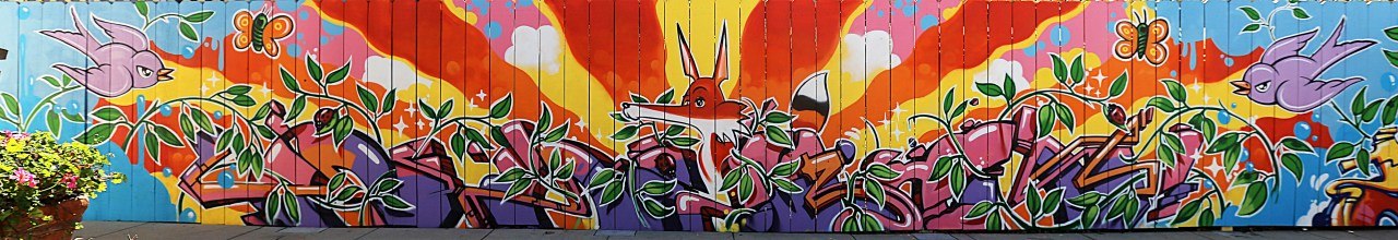 self selfuno mural art aerosol fence hollywood los angeles fox vine birds bugs february 2013