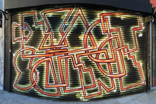 self selfuno aerosol painting mural art commission melrose exact science gallery store gate signage letters october 2014