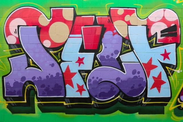 self uno selfuno graffiti art mural letters piece funky hollywood style april 2015